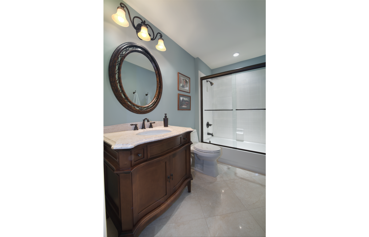 Tuscan Retreat - Guest Bathroom by Wright Interior Group