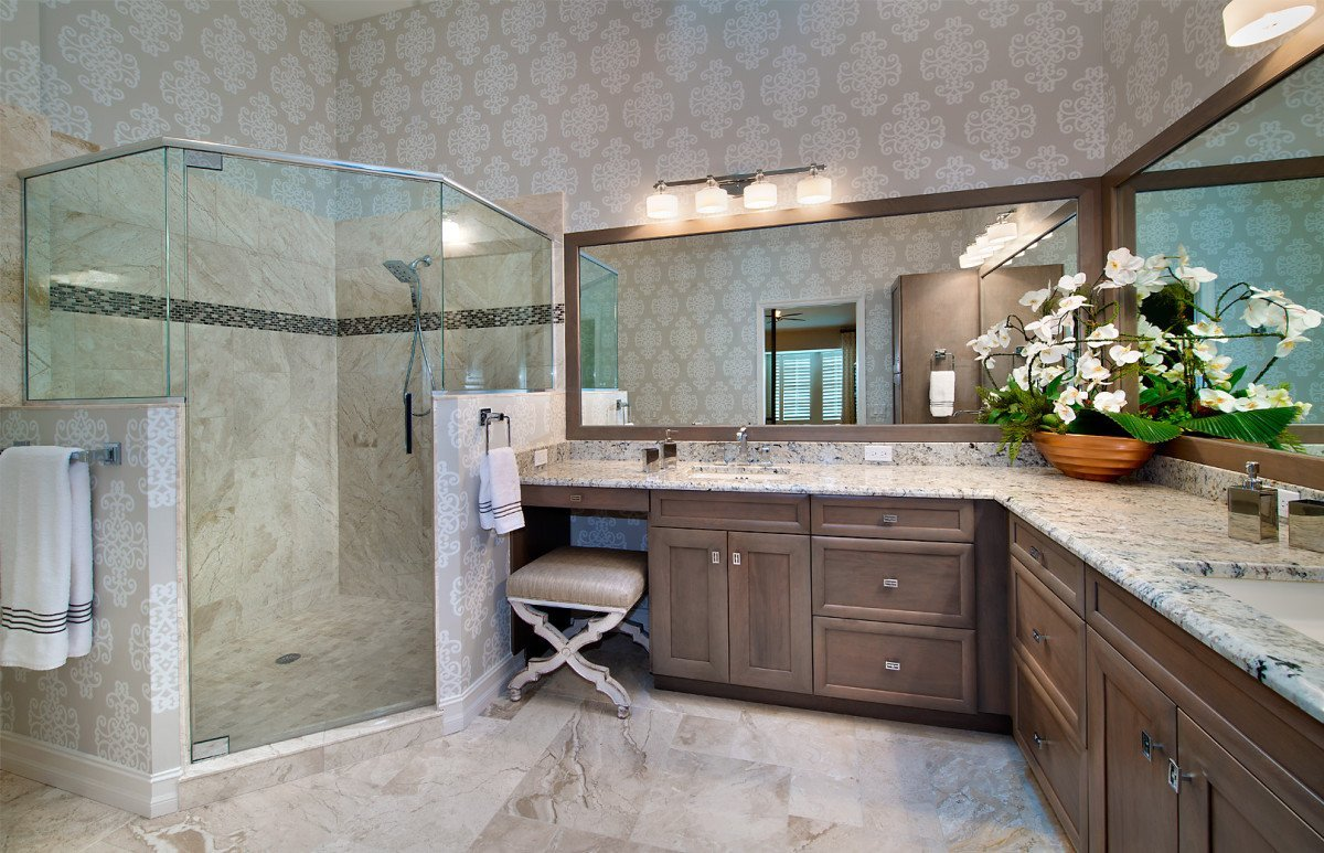 Tuscan Retreat - Master Bathroom by Wright Interior Group
