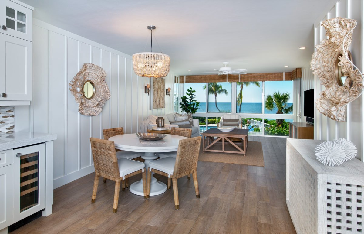 Beach Bungalow - Dining & Living Room by Wright Interior Group