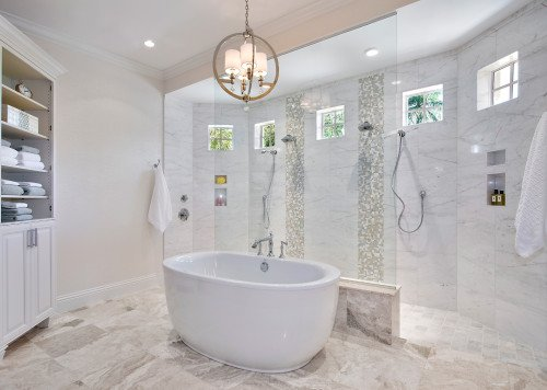 Coastal Couture - Master Bathroom by Wright Interior Group