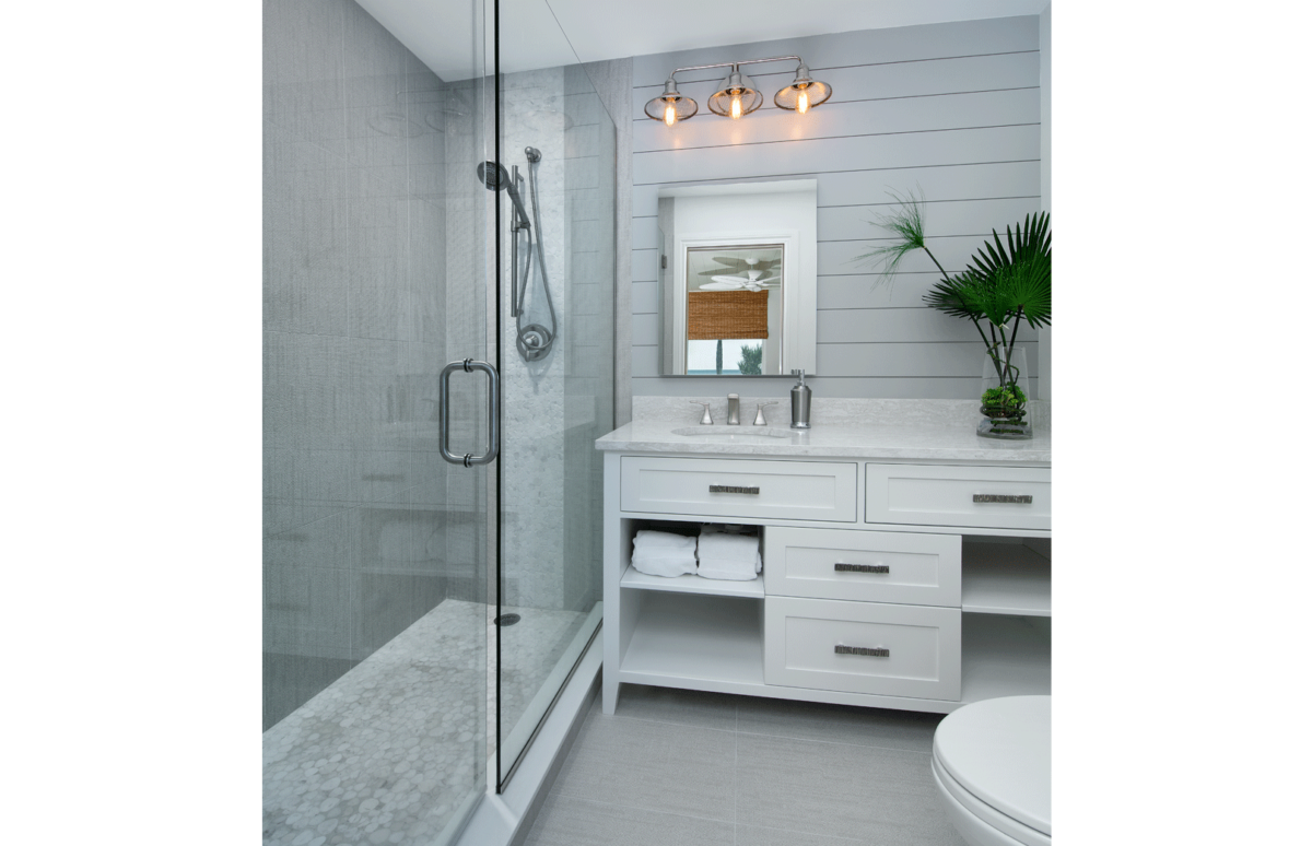 Beach Bungalow - Master Bathroom by Wright Interior Group
